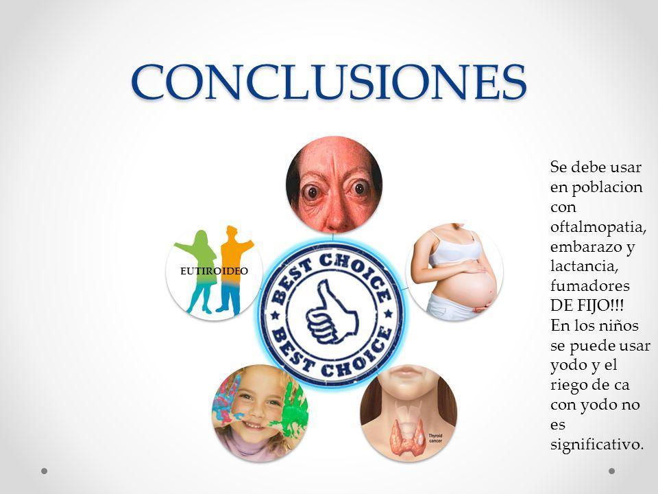 CONCLUSIONES EUTIROIDEO Se debe usar en poblacion con oftalmopatia, embarazo y lactancia, fumadores DE FIJO!!! En los niños se puede usar yodo y el ri