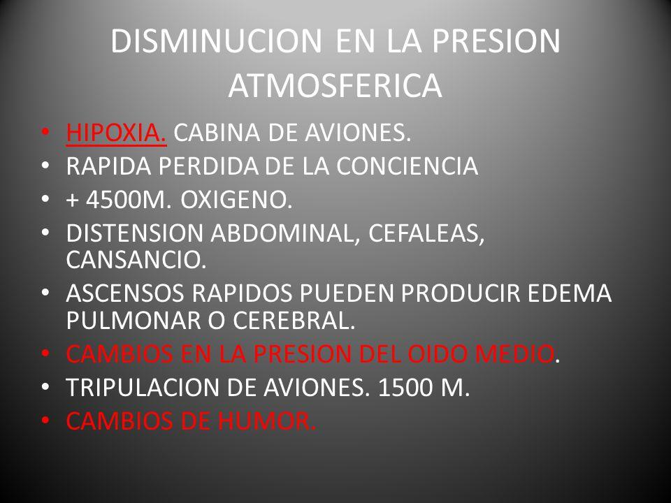 DISMINUCION EN LA PRESION ATMOSFERICA HIPOXIA.CABINA DE AVIONES.