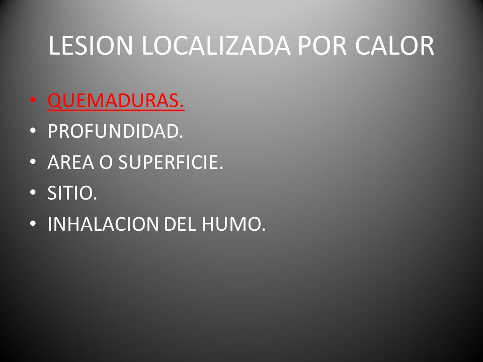 LESION LOCALIZADA POR CALOR QUEMADURAS. PROFUNDIDAD. AREA O SUPERFICIE. SITIO. INHALACION DEL HUMO.