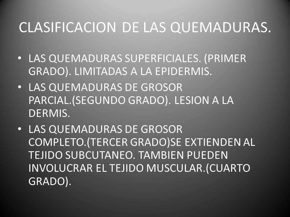 CLASIFICACION DE LAS QUEMADURAS.LAS QUEMADURAS SUPERFICIALES.
