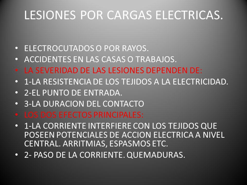 LESIONES POR CARGAS ELECTRICAS.ELECTROCUTADOS O POR RAYOS.