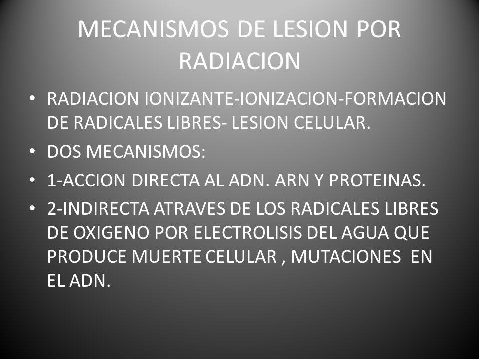MECANISMOS DE LESION POR RADIACION RADIACION IONIZANTE-IONIZACION-FORMACION DE RADICALES LIBRES- LESION CELULAR.