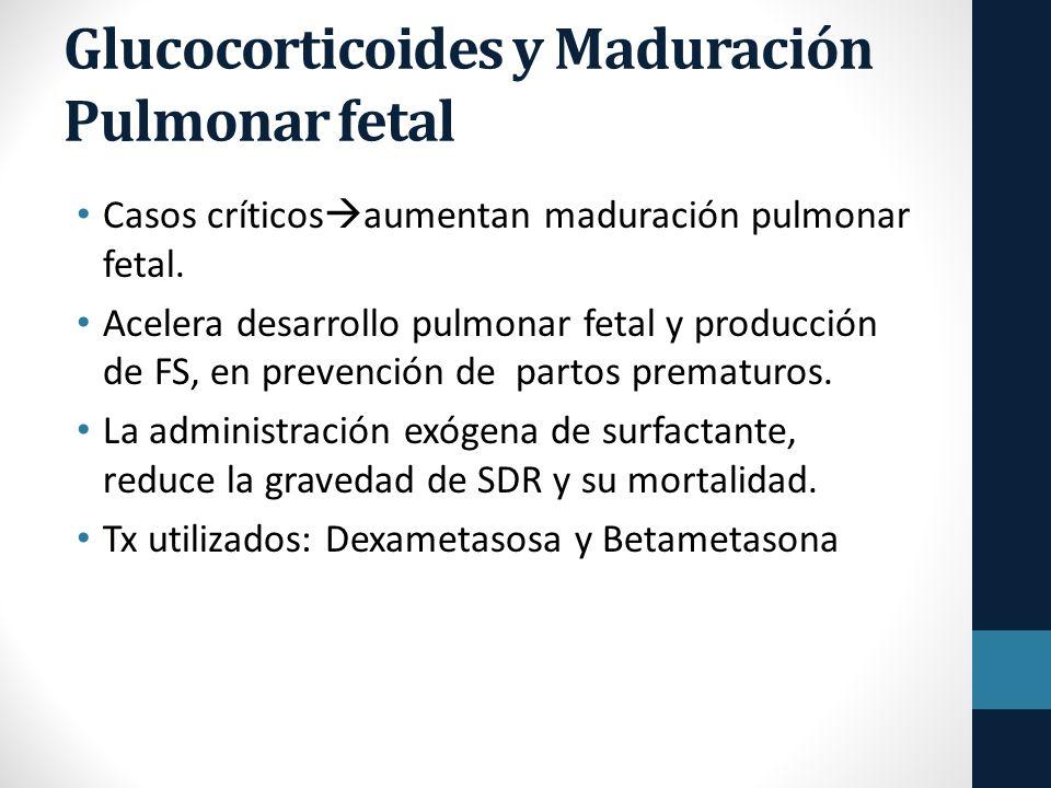 Glucocorticoides y Maduración Pulmonar fetal Casos críticos aumentan maduración pulmonar fetal.