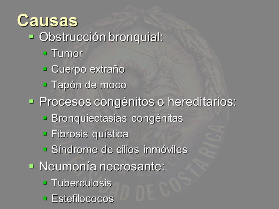 Causas Obstrucción bronquial: Obstrucción bronquial: Tumor Tumor Cuerpo extraño Cuerpo extraño Tapón de moco Tapón de moco Procesos congénitos o hered