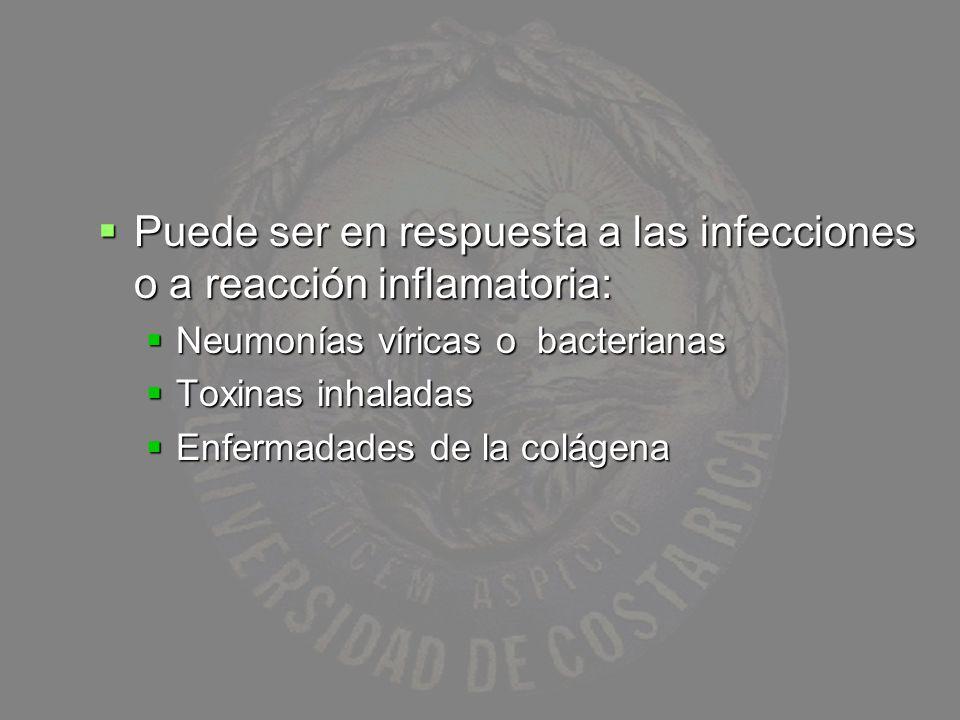 Puede ser en respuesta a las infecciones o a reacción inflamatoria: Puede ser en respuesta a las infecciones o a reacción inflamatoria: Neumonías víri