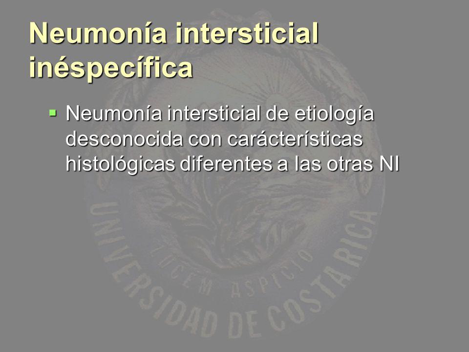 Neumonía intersticial inéspecífica Neumonía intersticial de etiología desconocida con carácterísticas histológicas diferentes a las otras NI Neumonía