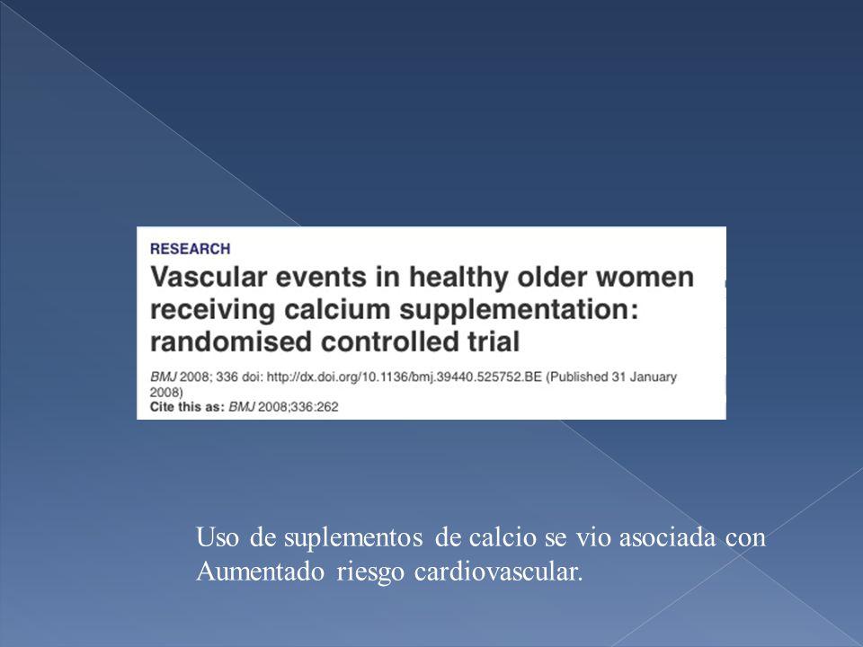 Uso de suplementos de calcio se vio asociada con Aumentado riesgo cardiovascular.