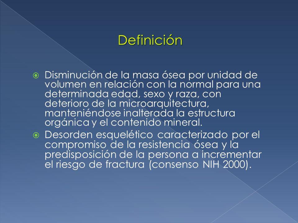 Disminución de la masa ósea por unidad de volumen en relación con la normal para una determinada edad, sexo y raza, con deterioro de la microarquitectura, manteniéndose inalterada la estructura orgánica y el contenido mineral.