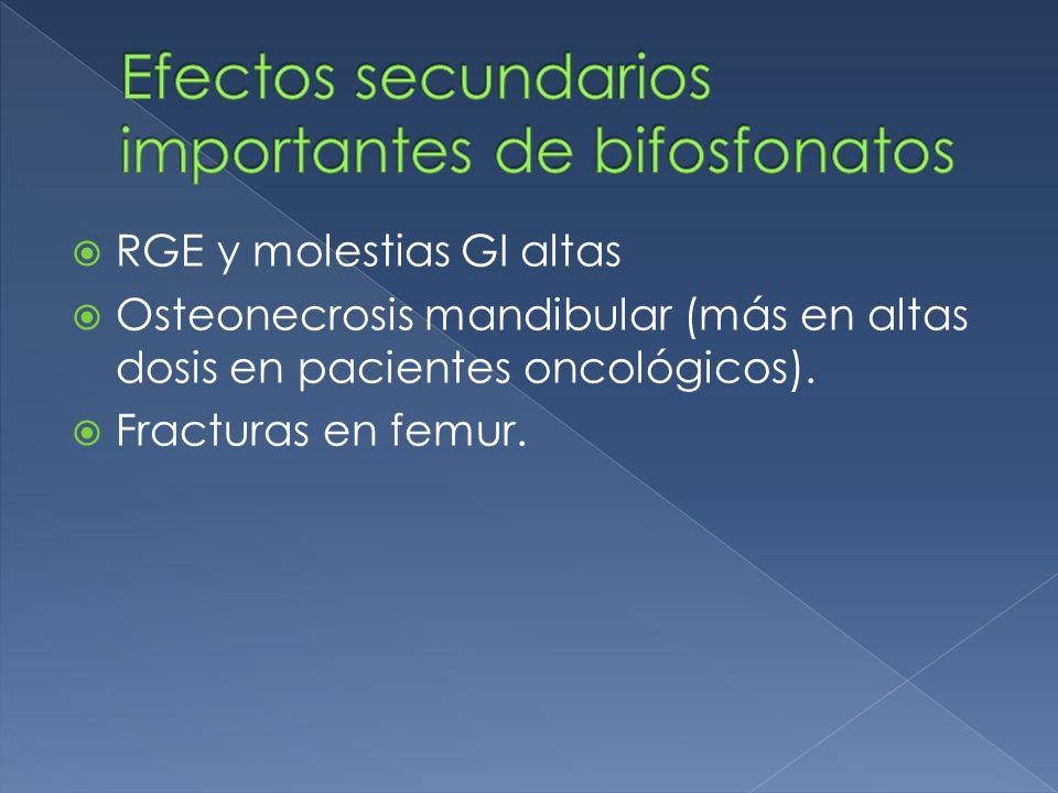 RGE y molestias GI altas Osteonecrosis mandibular (más en altas dosis en pacientes oncológicos).