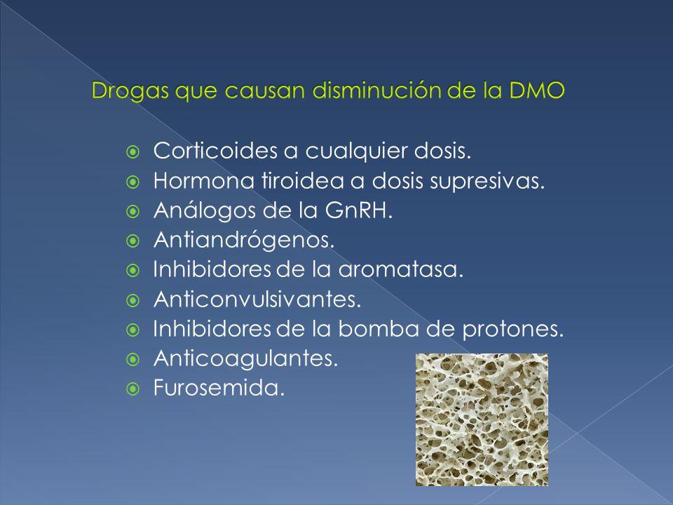 Corticoides a cualquier dosis.Hormona tiroidea a dosis supresivas.