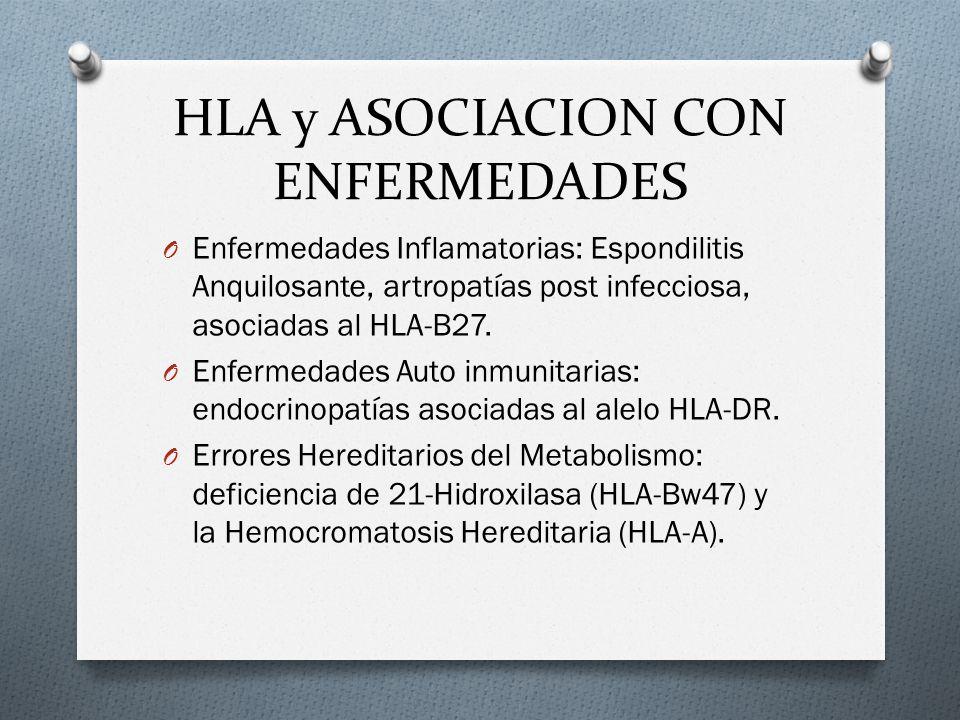 HLA y ASOCIACION CON ENFERMEDADES O Enfermedades Inflamatorias: Espondilitis Anquilosante, artropatías post infecciosa, asociadas al HLA-B27. O Enferm
