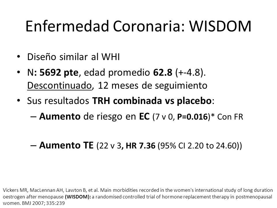 Enfermedad Coronaria: WISDOM Diseño similar al WHI N: 5692 pte, edad promedio 62.8 (+-4.8). Descontinuado, 12 meses de seguimiento Sus resultados TRH