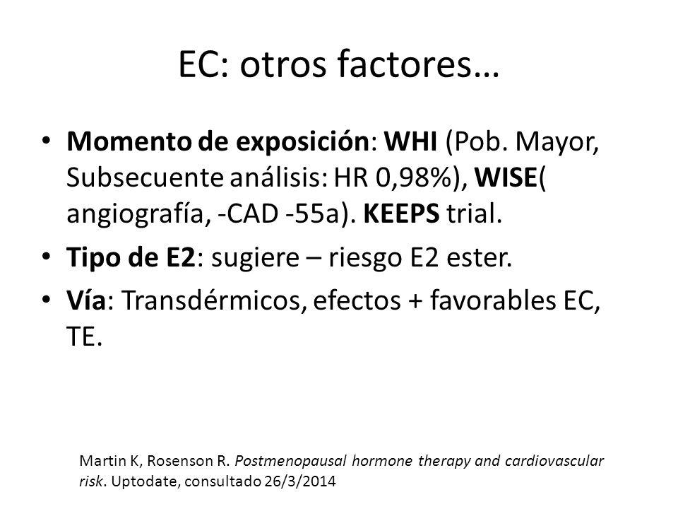 EC: otros factores… Momento de exposición: WHI (Pob. Mayor, Subsecuente análisis: HR 0,98%), WISE( angiografía, -CAD -55a). KEEPS trial. Tipo de E2: s