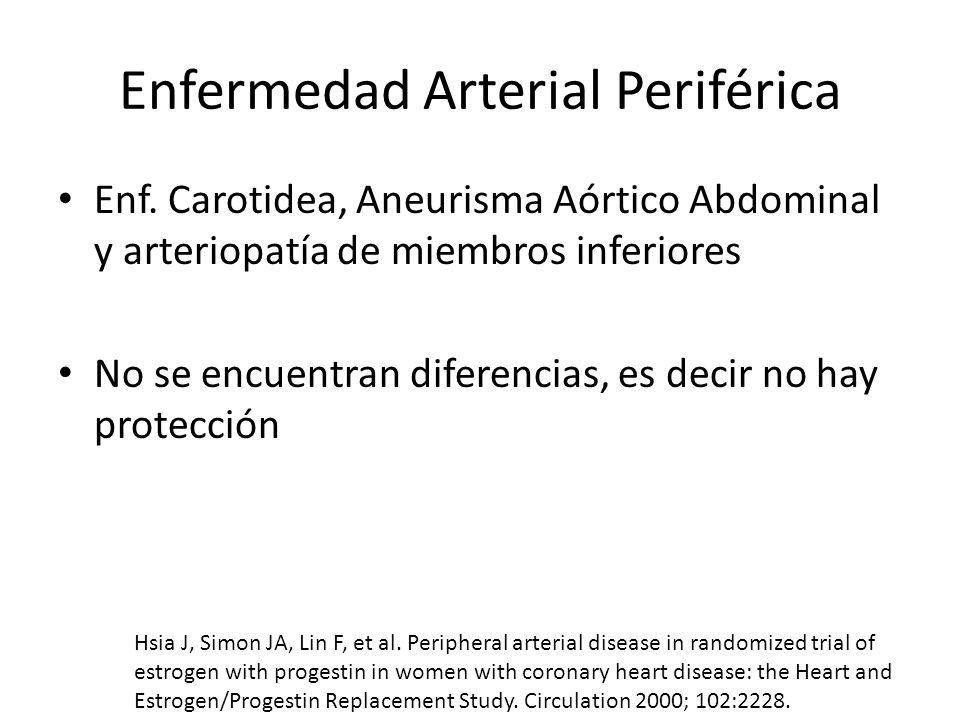 Enfermedad Arterial Periférica Enf. Carotidea, Aneurisma Aórtico Abdominal y arteriopatía de miembros inferiores No se encuentran diferencias, es deci