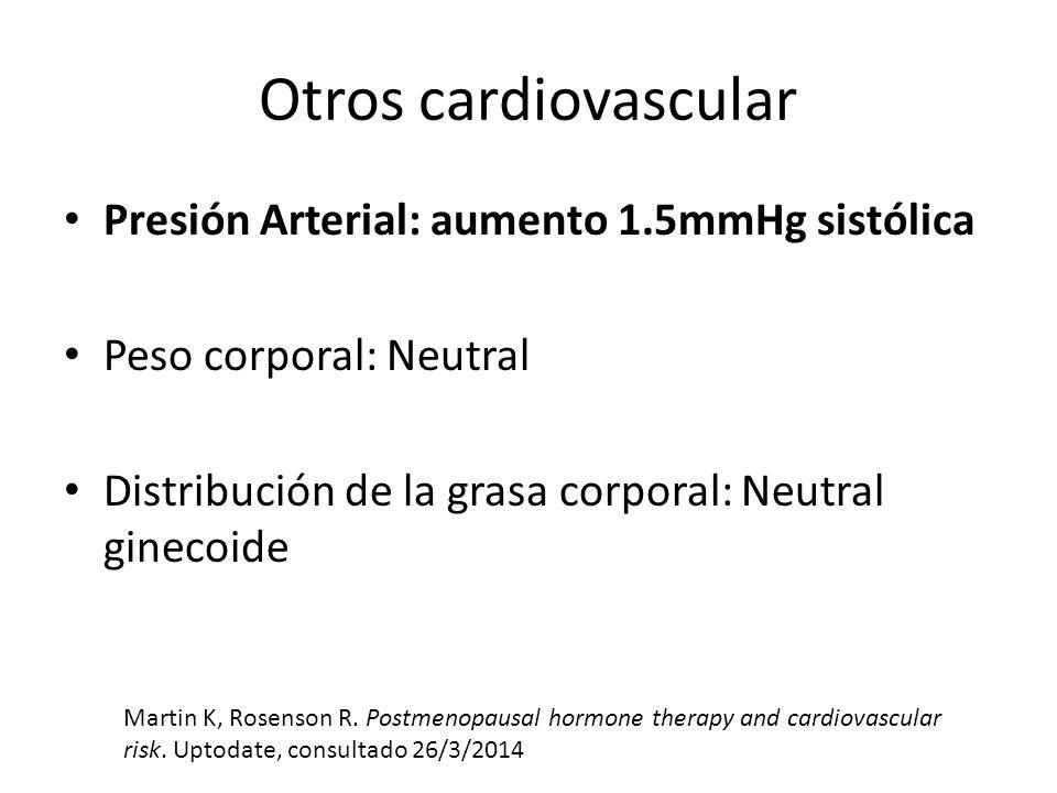 Otros cardiovascular Presión Arterial: aumento 1.5mmHg sistólica Peso corporal: Neutral Distribución de la grasa corporal: Neutral ginecoide Martin K,
