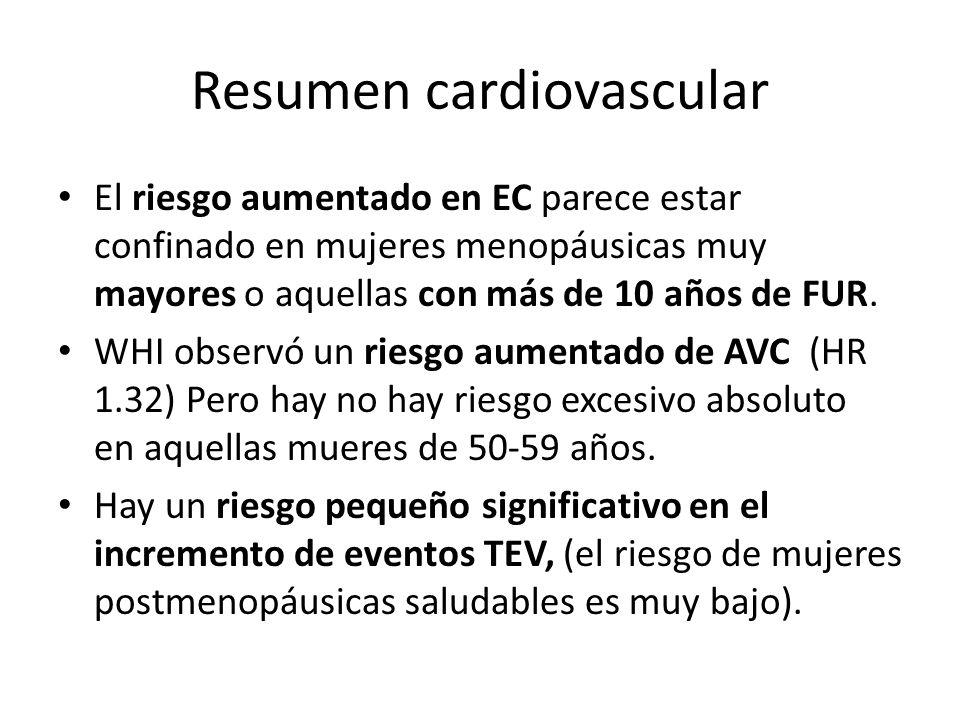 Resumen cardiovascular El riesgo aumentado en EC parece estar confinado en mujeres menopáusicas muy mayores o aquellas con más de 10 años de FUR. WHI