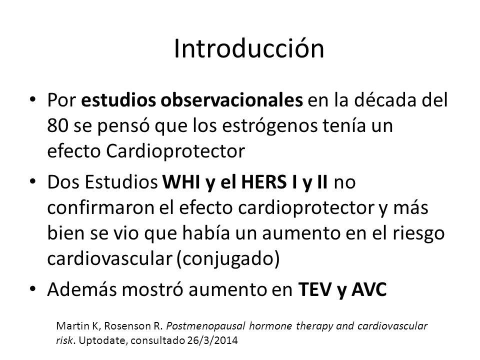 Introducción Por estudios observacionales en la década del 80 se pensó que los estrógenos tenía un efecto Cardioprotector Dos Estudios WHI y el HERS I