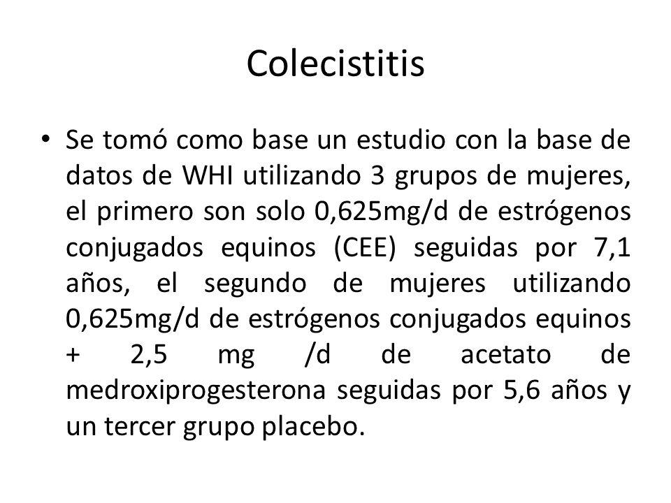 Colecistitis Se tomó como base un estudio con la base de datos de WHI utilizando 3 grupos de mujeres, el primero son solo 0,625mg/d de estrógenos conj