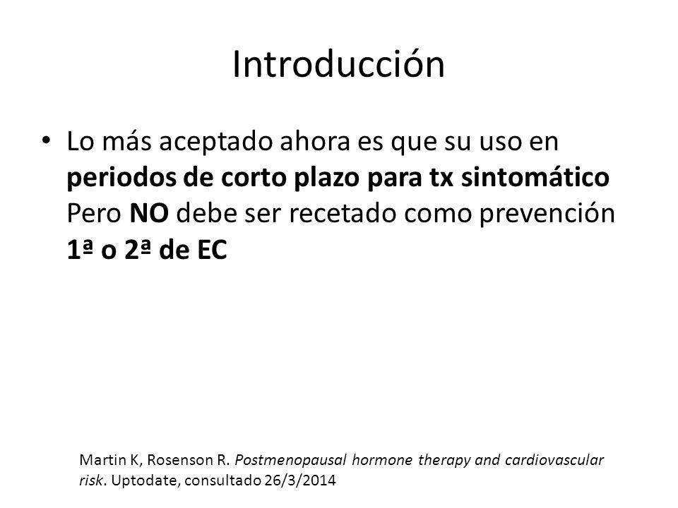 Introducción Lo más aceptado ahora es que su uso en periodos de corto plazo para tx sintomático Pero NO debe ser recetado como prevención 1ª o 2ª de E
