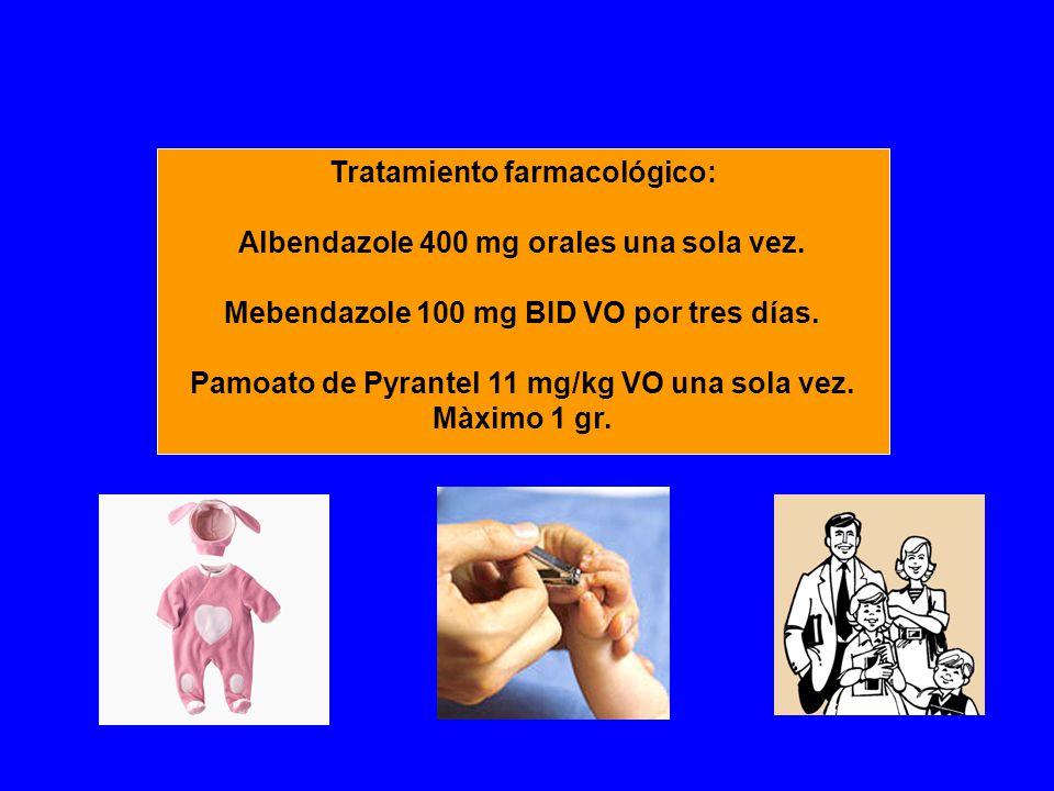 Tratamiento farmacológico: Albendazole 400 mg orales una sola vez.