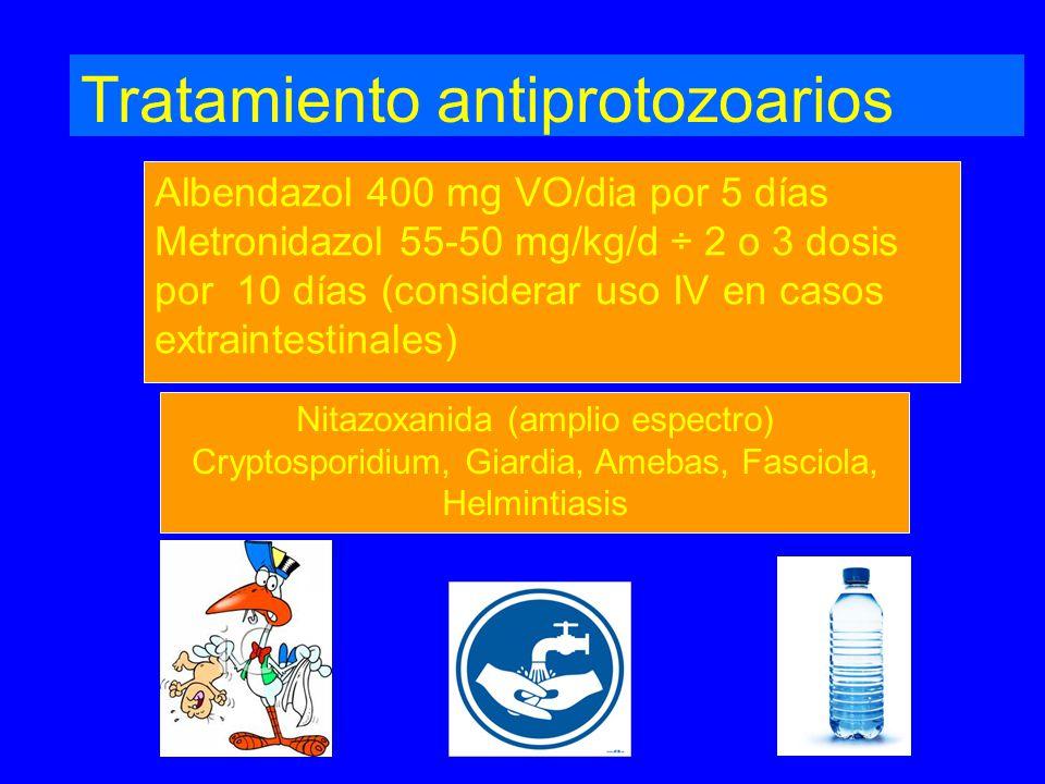 Tratamiento antiprotozoarios Albendazol 400 mg VO/dia por 5 días Metronidazol 55-50 mg/kg/d ÷ 2 o 3 dosis por 10 días (considerar uso IV en casos extraintestinales) Nitazoxanida (amplio espectro) Cryptosporidium, Giardia, Amebas, Fasciola, Helmintiasis