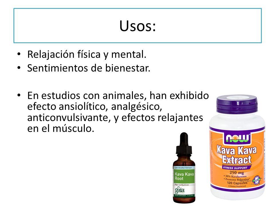 Usos: Relajación física y mental. Sentimientos de bienestar. En estudios con animales, han exhibido efecto ansiolítico, analgésico, anticonvulsivante,