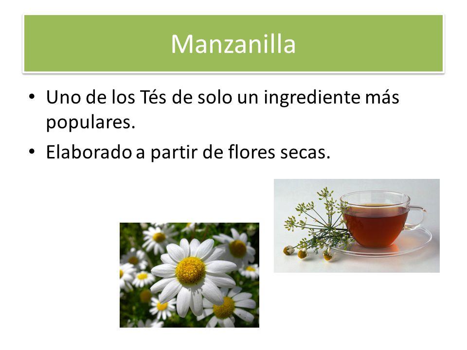 Manzanilla Uno de los Tés de solo un ingrediente más populares. Elaborado a partir de flores secas.