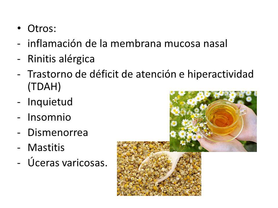 Otros: -inflamación de la membrana mucosa nasal -Rinitis alérgica -Trastorno de déficit de atención e hiperactividad (TDAH) -Inquietud -Insomnio -Dism