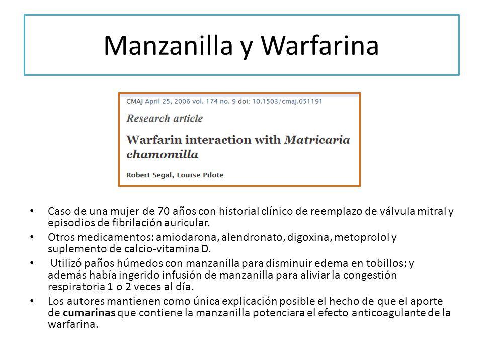 Manzanilla y Warfarina Caso de una mujer de 70 años con historial clínico de reemplazo de válvula mitral y episodios de fibrilación auricular. Otros m