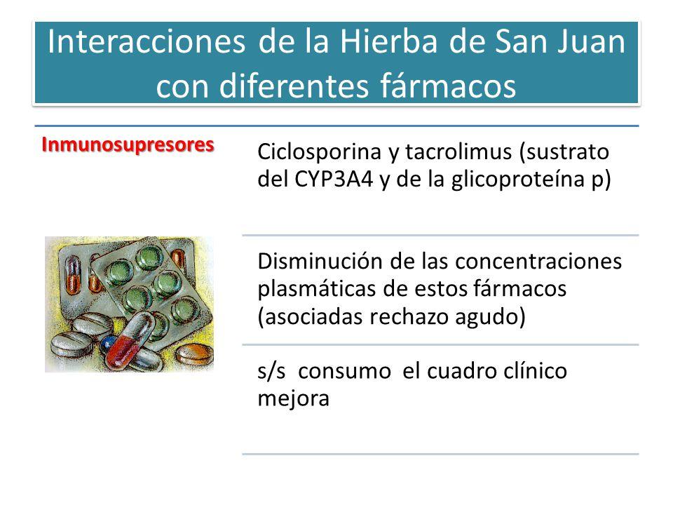 Interacciones de la Hierba de San Juan con diferentes fármacos Inmunosupresores Ciclosporina y tacrolimus (sustrato del CYP3A4 y de la glicoproteína p