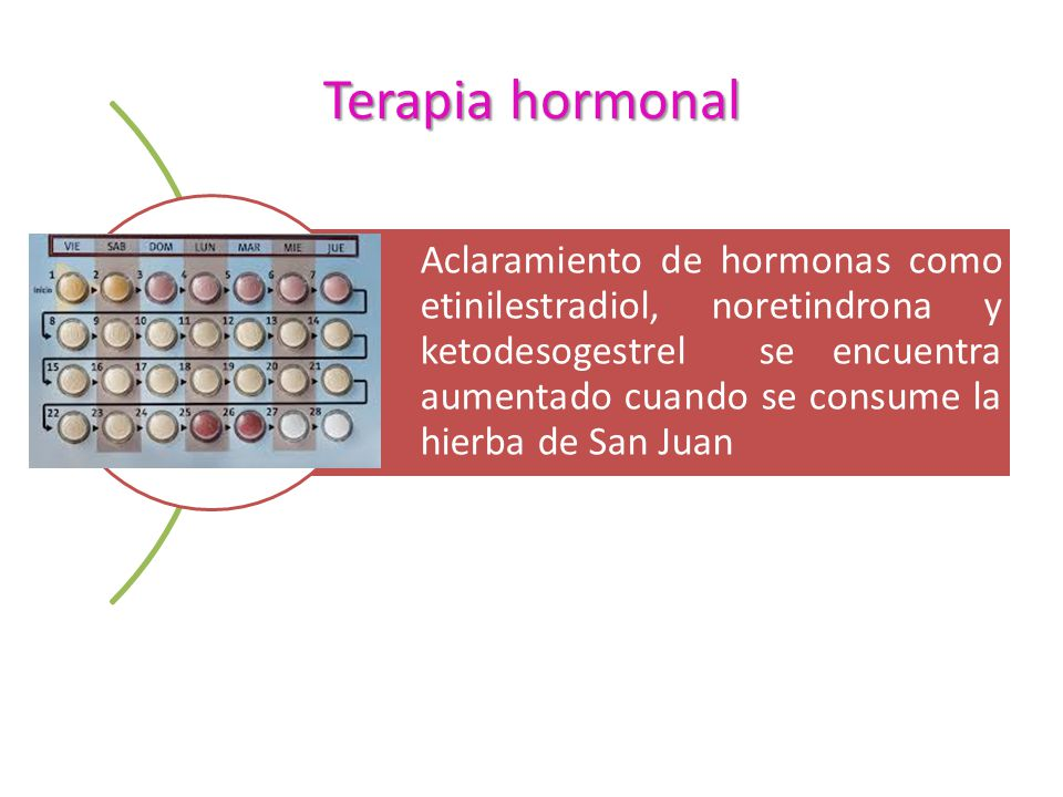 Terapia hormonal Aclaramiento de hormonas como etinilestradiol, noretindrona y ketodesogestrel se encuentra aumentado cuando se consume la hierba de S