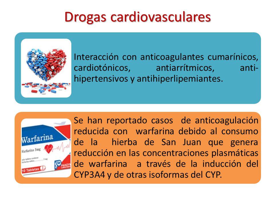 Drogas cardiovasculares Interacción con anticoagulantes cumarínicos, cardiotónicos, antiarrítmicos, anti- hipertensivos y antihiperlipemiantes. Se han