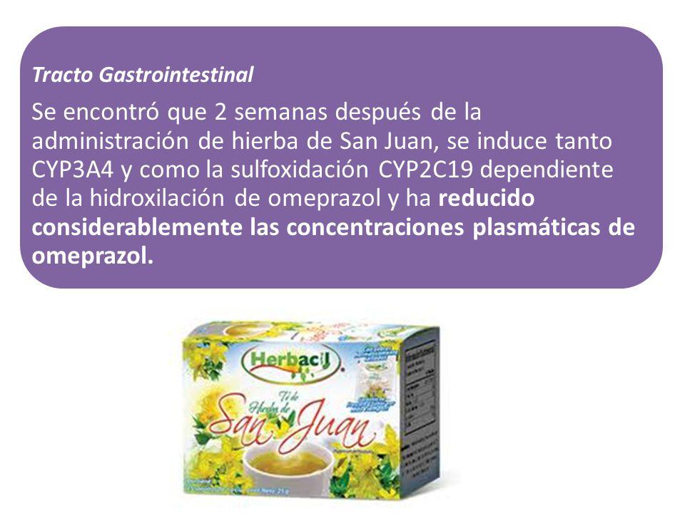 Tracto Gastrointestinal Se encontró que 2 semanas después de la administración de hierba de San Juan, se induce tanto CYP3A4 y como la sulfoxidación C