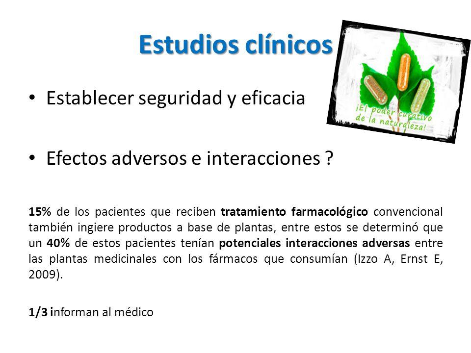 Estudios clínicos Establecer seguridad y eficacia Efectos adversos e interacciones ? 15% de los pacientes que reciben tratamiento farmacológico conven