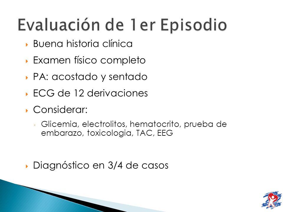 Buena historia clínica Examen físico completo PA: acostado y sentado ECG de 12 derivaciones Considerar: Glicemia, electrolitos, hematocrito, prueba de