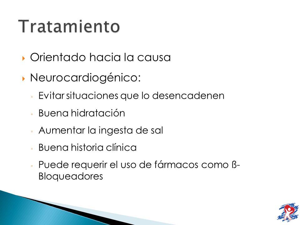 Orientado hacia la causa Neurocardiogénico: Evitar situaciones que lo desencadenen Buena hidratación Aumentar la ingesta de sal Buena historia clínica