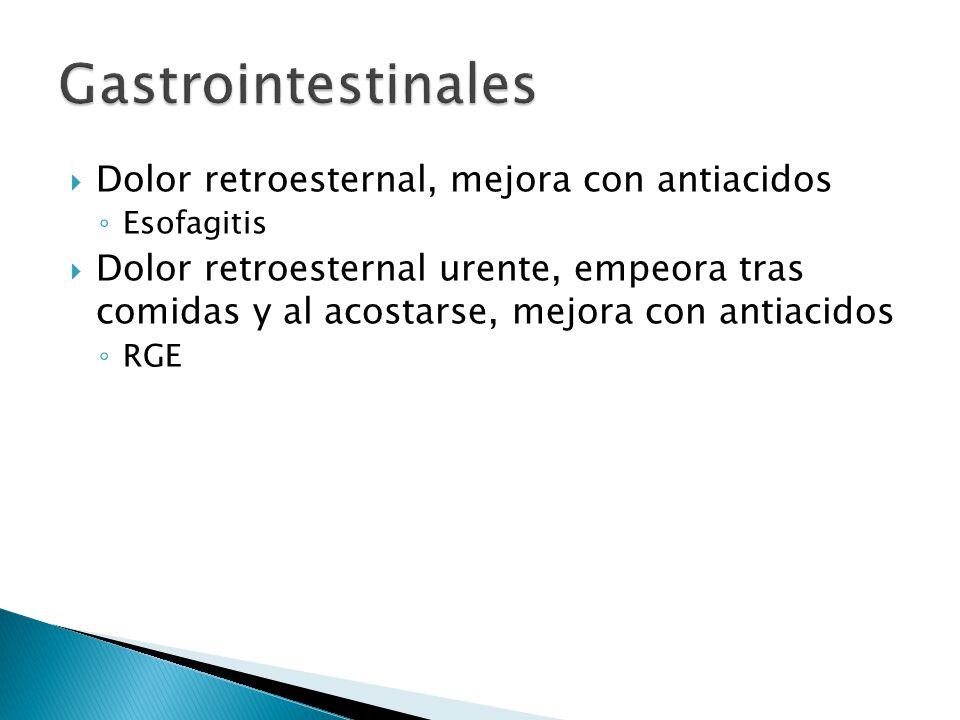 Dolor retroesternal, mejora con antiacidos Esofagitis Dolor retroesternal urente, empeora tras comidas y al acostarse, mejora con antiacidos RGE