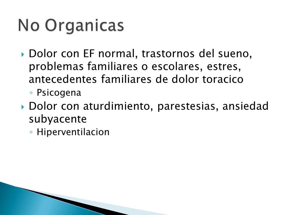 Dolor con EF normal, trastornos del sueno, problemas familiares o escolares, estres, antecedentes familiares de dolor toracico Psicogena Dolor con atu