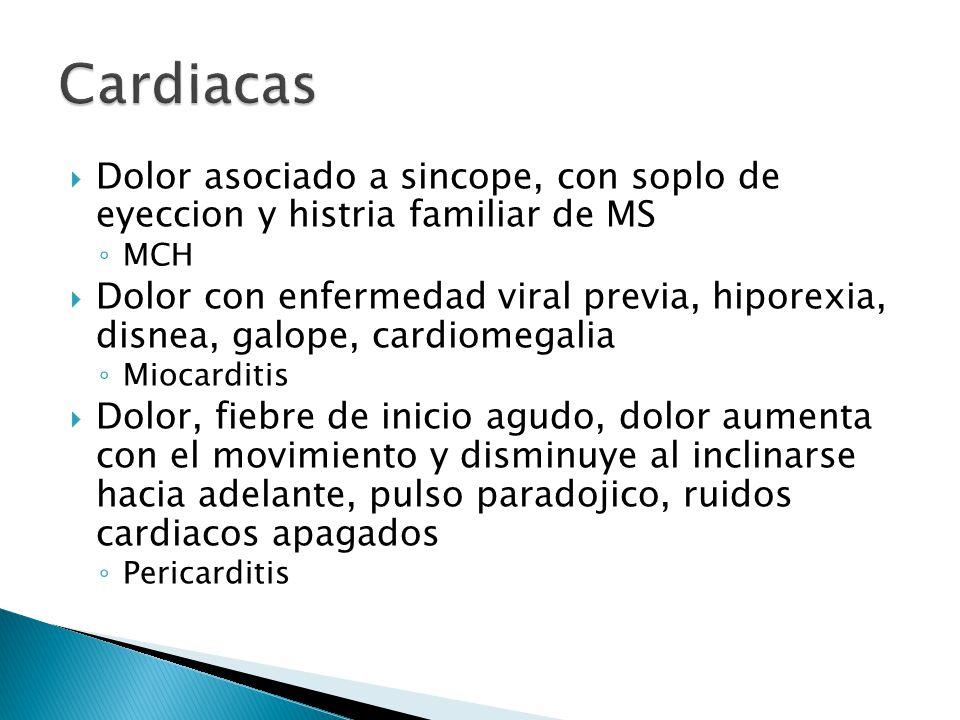 Dolor asociado a sincope, con soplo de eyeccion y histria familiar de MS MCH Dolor con enfermedad viral previa, hiporexia, disnea, galope, cardiomegal
