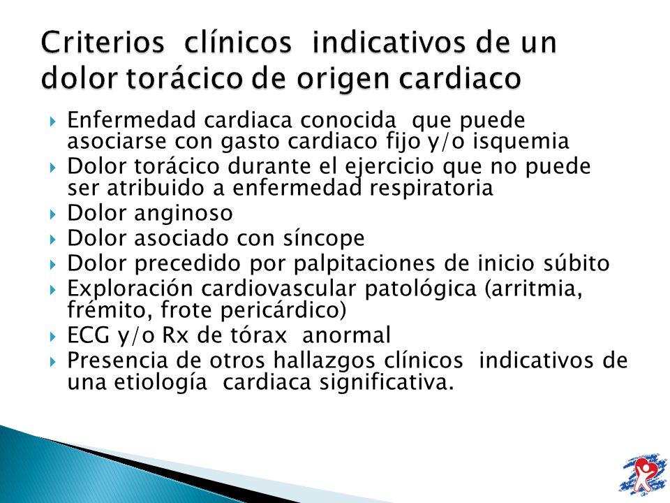 Enfermedad cardiaca conocida que puede asociarse con gasto cardiaco fijo y/o isquemia Dolor torácico durante el ejercicio que no puede ser atribuido a