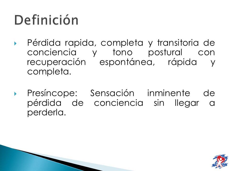 Vasodepresor: Hipotensión Preservación relativa de la FC Benigno, se acompaña de diaforesis, palidez y mejora en decúbito.