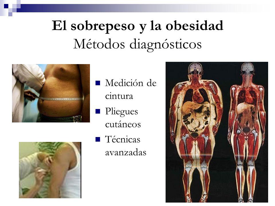 El sobrepeso y la obesidad Métodos diagnósticos Medición de cintura Pliegues cutáneos Técnicas avanzadas