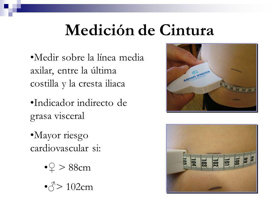 Medir sobre la línea media axilar, entre la última costilla y la cresta iliaca Indicador indirecto de grasa visceral Mayor riesgo cardiovascular si: >