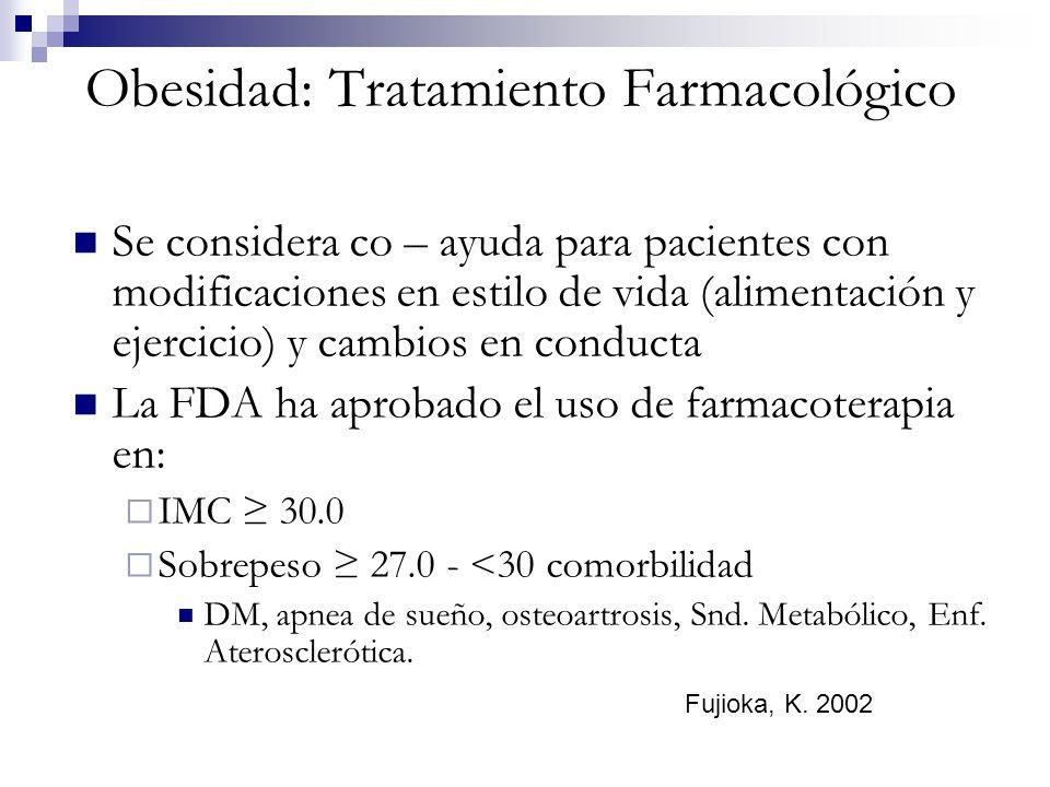 Obesidad: Tratamiento Farmacológico Se considera co – ayuda para pacientes con modificaciones en estilo de vida (alimentación y ejercicio) y cambios e