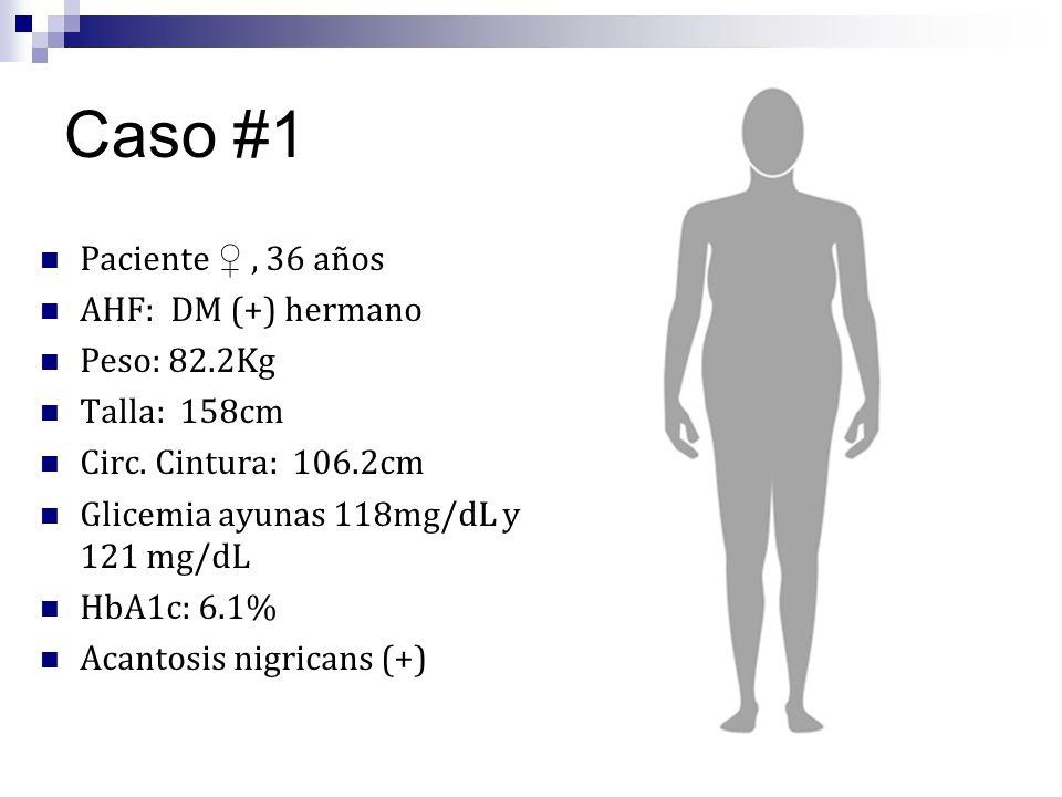 Caso #1 Paciente, 36 años AHF: DM (+) hermano Peso: 82.2Kg Talla: 158cm Circ. Cintura: 106.2cm Glicemia ayunas 118mg/dL y 121 mg/dL HbA1c: 6.1% Acanto