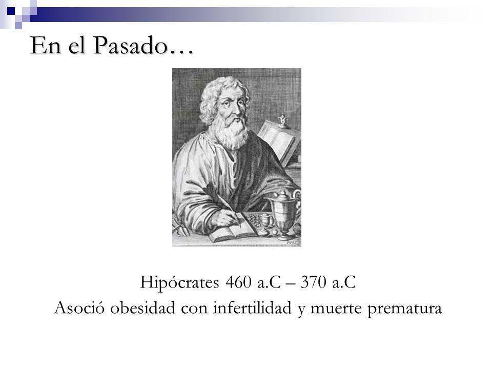 En el Pasado… Hipócrates 460 a.C – 370 a.C Asoció obesidad con infertilidad y muerte prematura