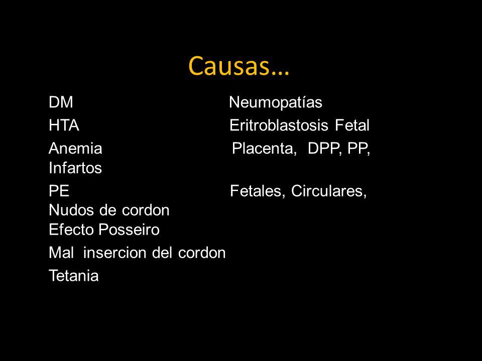 Causas… DM Neumopatías HTA Eritroblastosis Fetal Anemia Placenta, DPP, PP, Infartos PE Fetales, Circulares, Nudos de cordon Efecto Posseiro Mal insercion del cordon Tetania