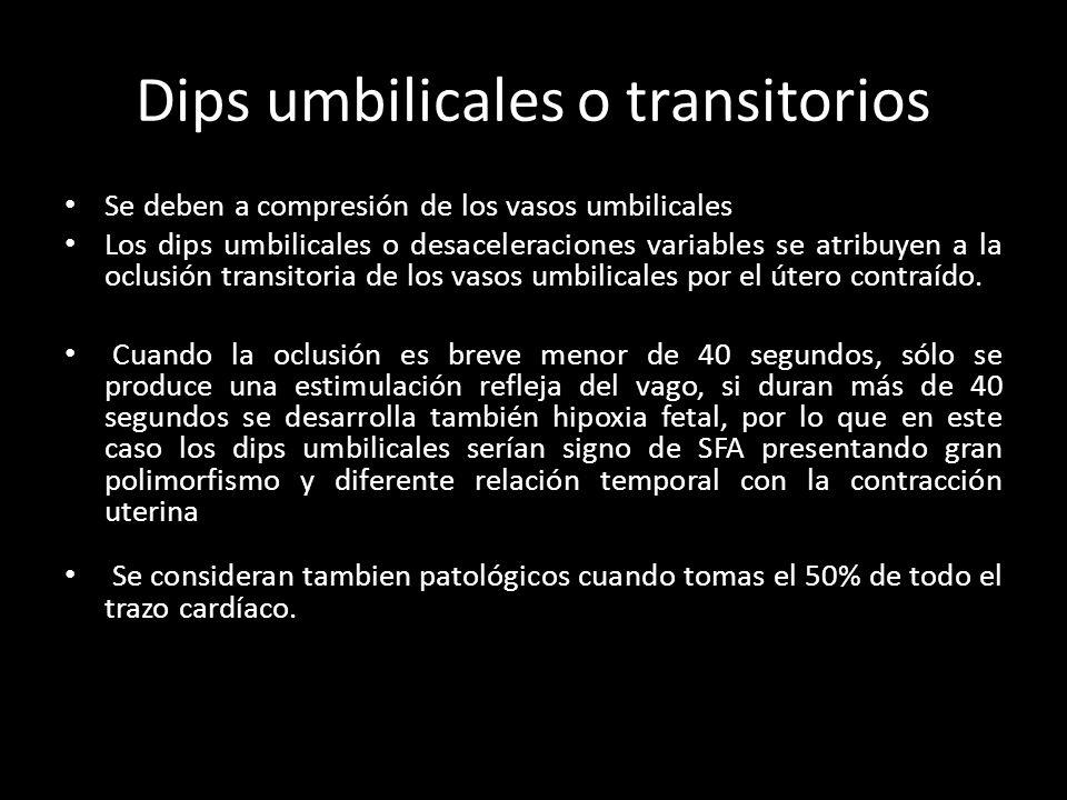 Dips umbilicales o transitorios Se deben a compresión de los vasos umbilicales Los dips umbilicales o desaceleraciones variables se atribuyen a la oclusión transitoria de los vasos umbilicales por el útero contraído.
