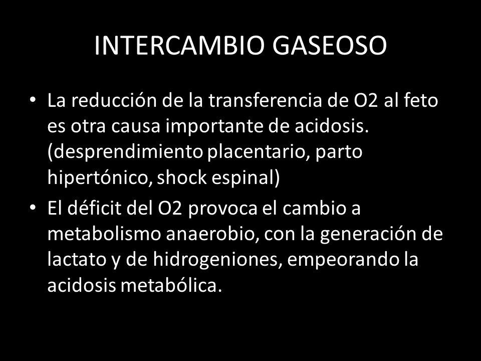 INTERCAMBIO GASEOSO La reducción de la transferencia de O2 al feto es otra causa importante de acidosis.