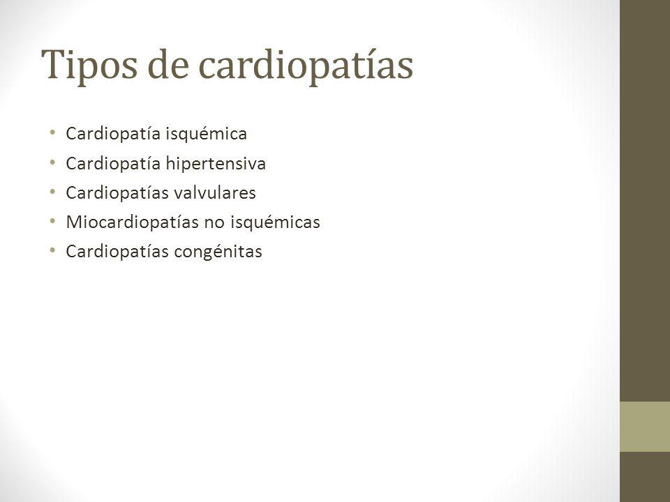 Tipos de cardiopatías Cardiopatía isquémica Cardiopatía hipertensiva Cardiopatías valvulares Miocardiopatías no isquémicas Cardiopatías congénitas
